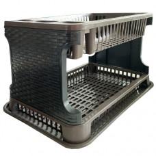 Сушка для посуды двухъярусная TUPPFEX Ротанг RATTANкоричнево-чёрная